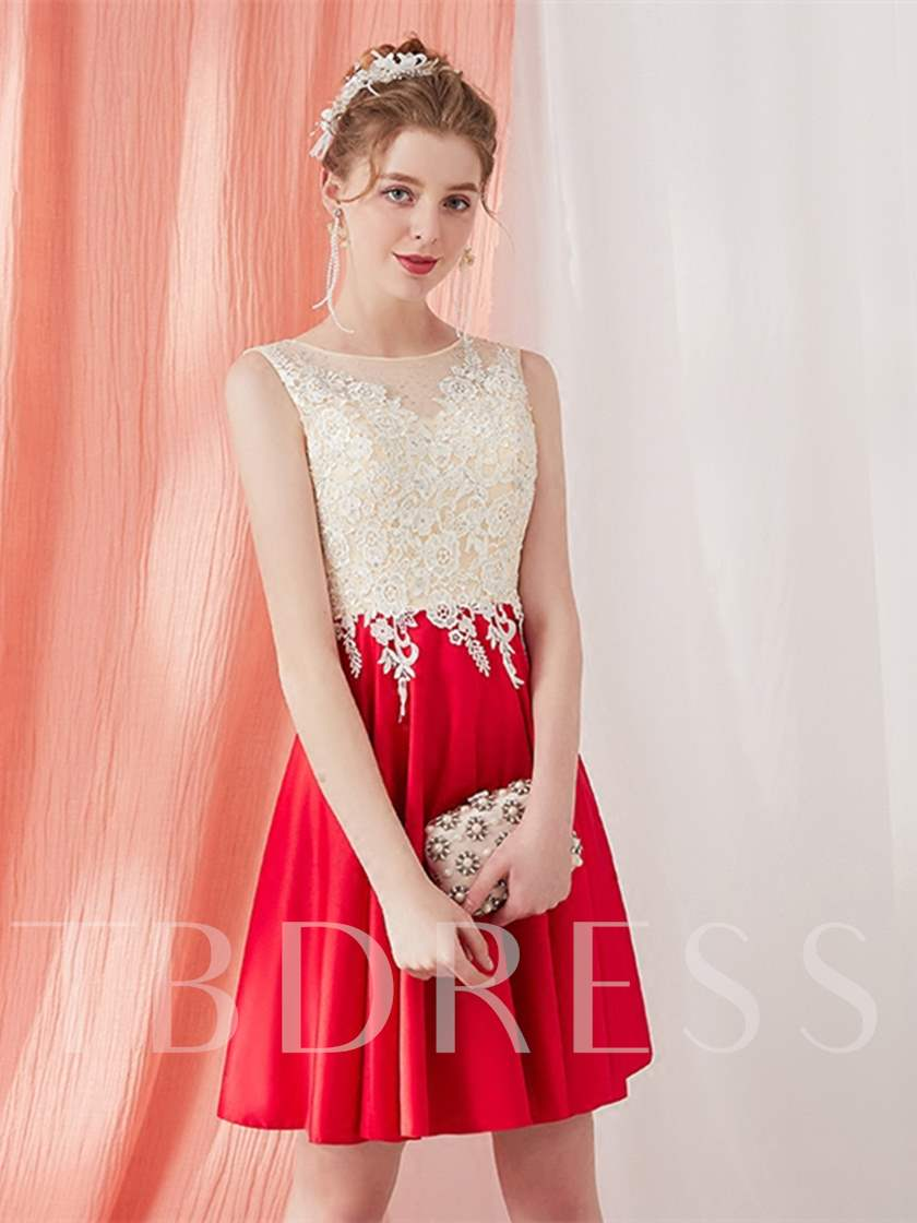 A-Line Appliques Beading Scoop Short Cocktail Dress