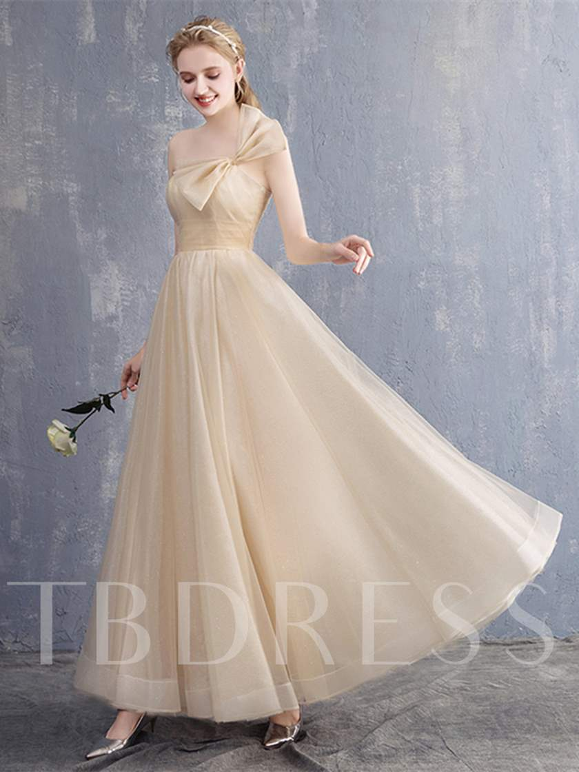 A-Line One-Shoulder Bowknot Pleats Prom Dress