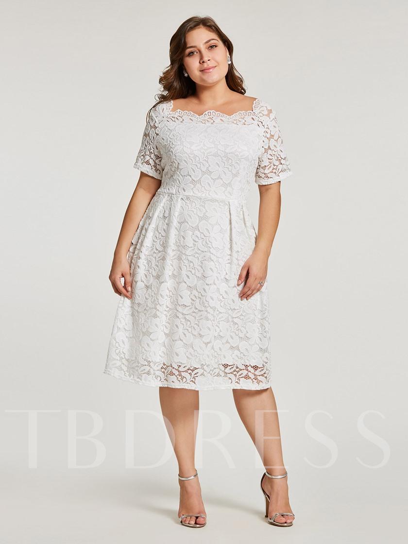 Plus Size White Lace Short Sleeve A-Line Dress - Tbdress.com