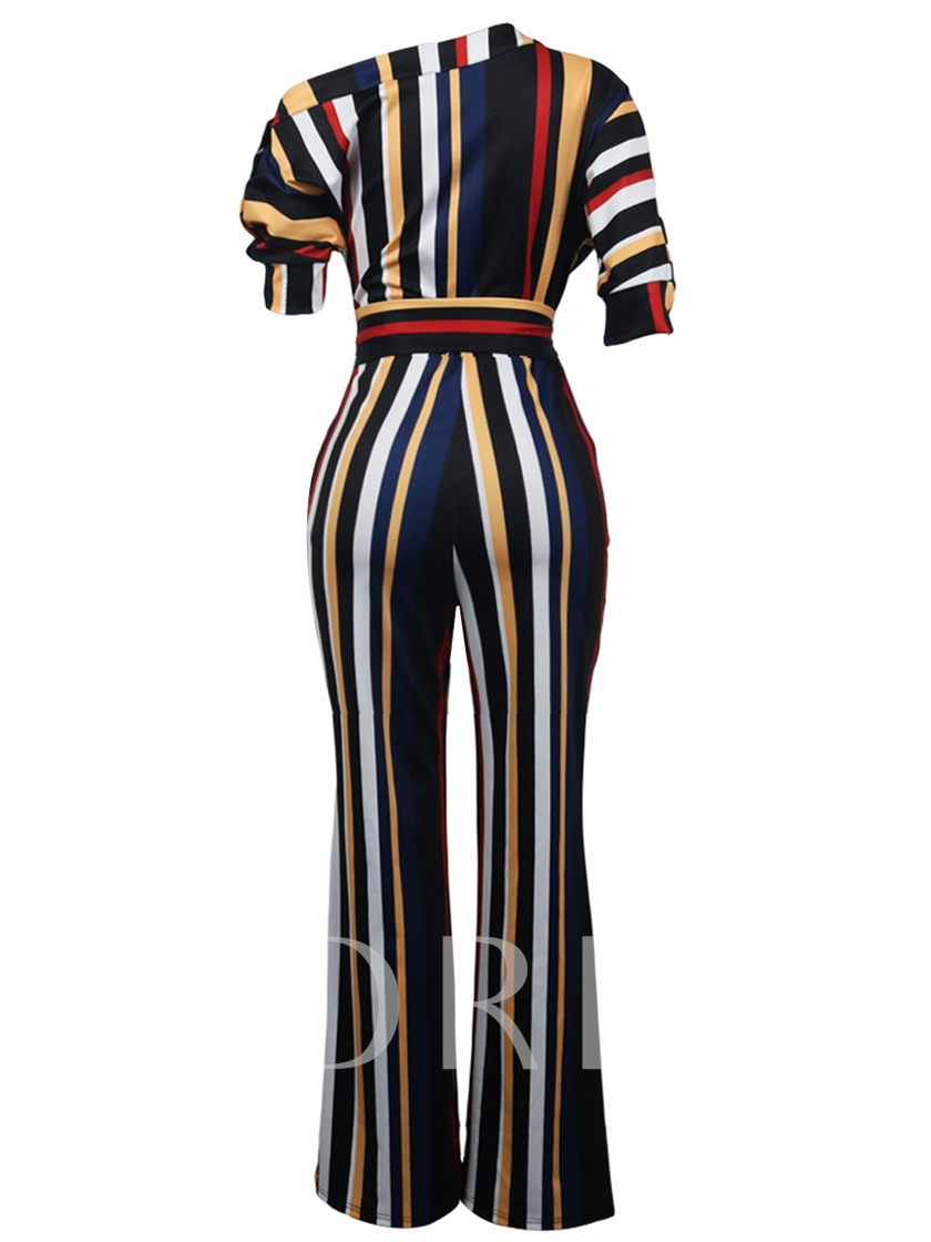 One Shoulder Striped Tie Waist Women's Jumpsuit
