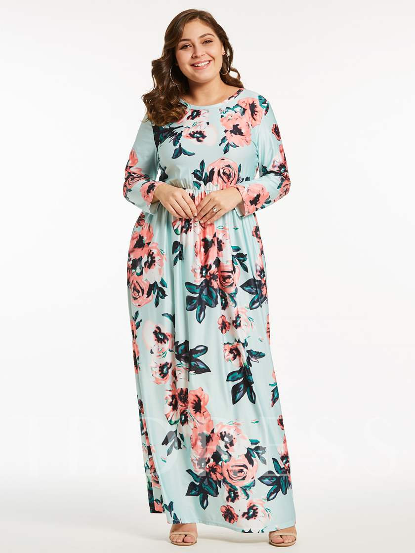 Plus Size Flower Print Long Sleeve Maxi Dress