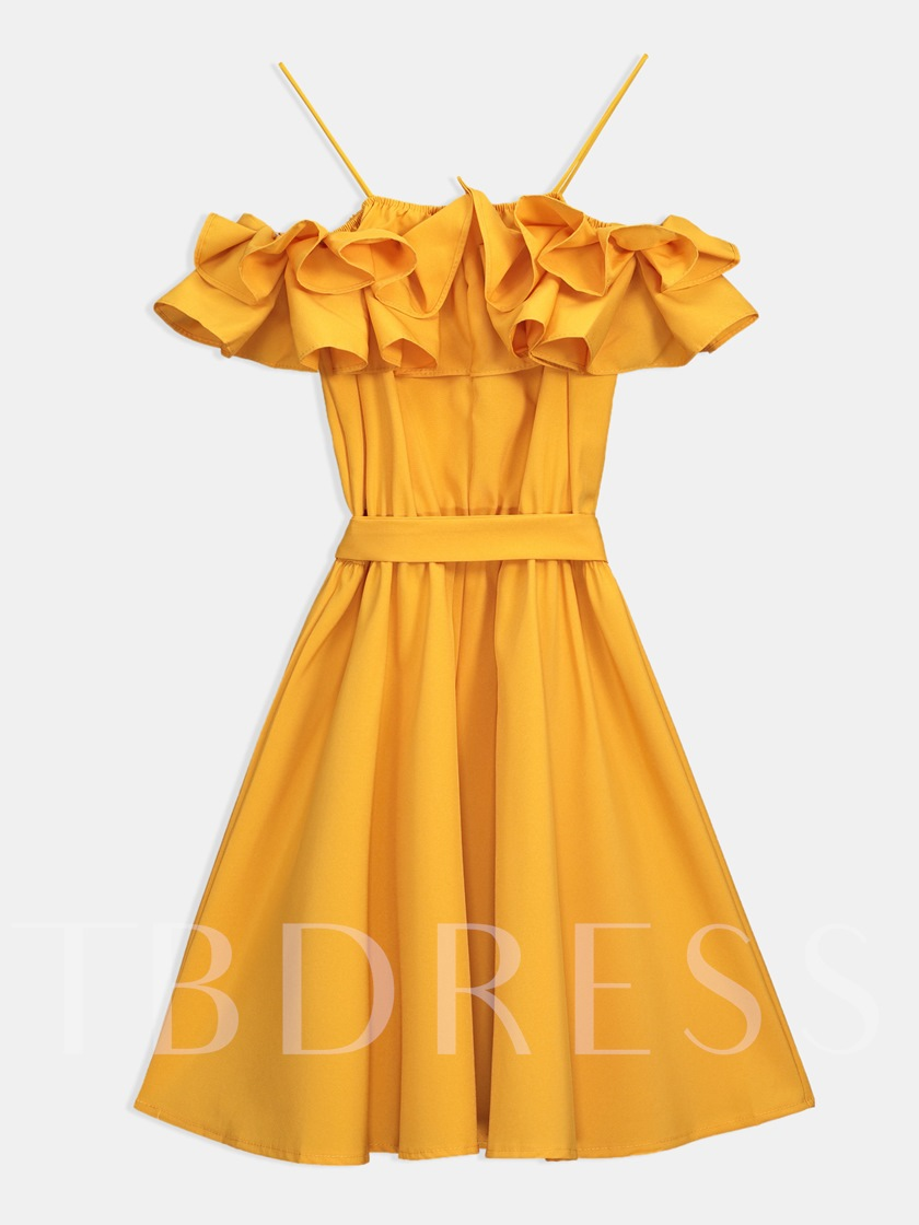 Pleated Belt Knee-Length Pullover A-Line Dress
