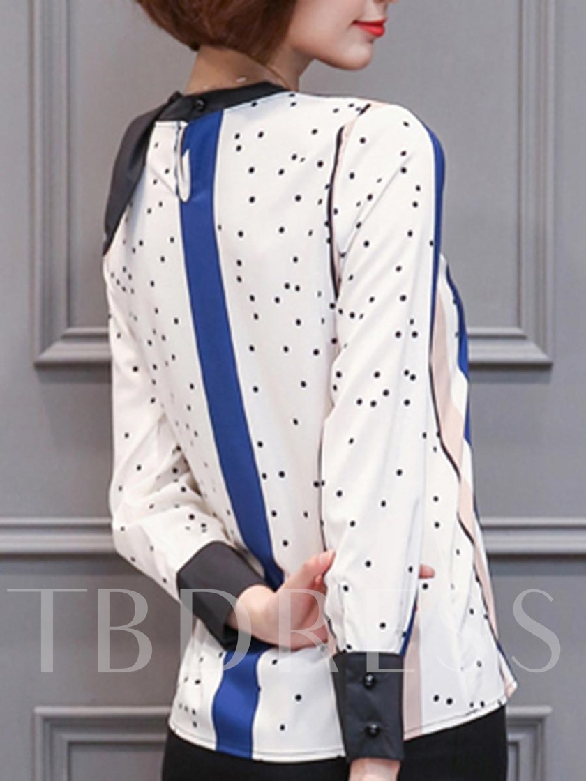 Stand Collar Color Block Polka Dot Women's Blouse