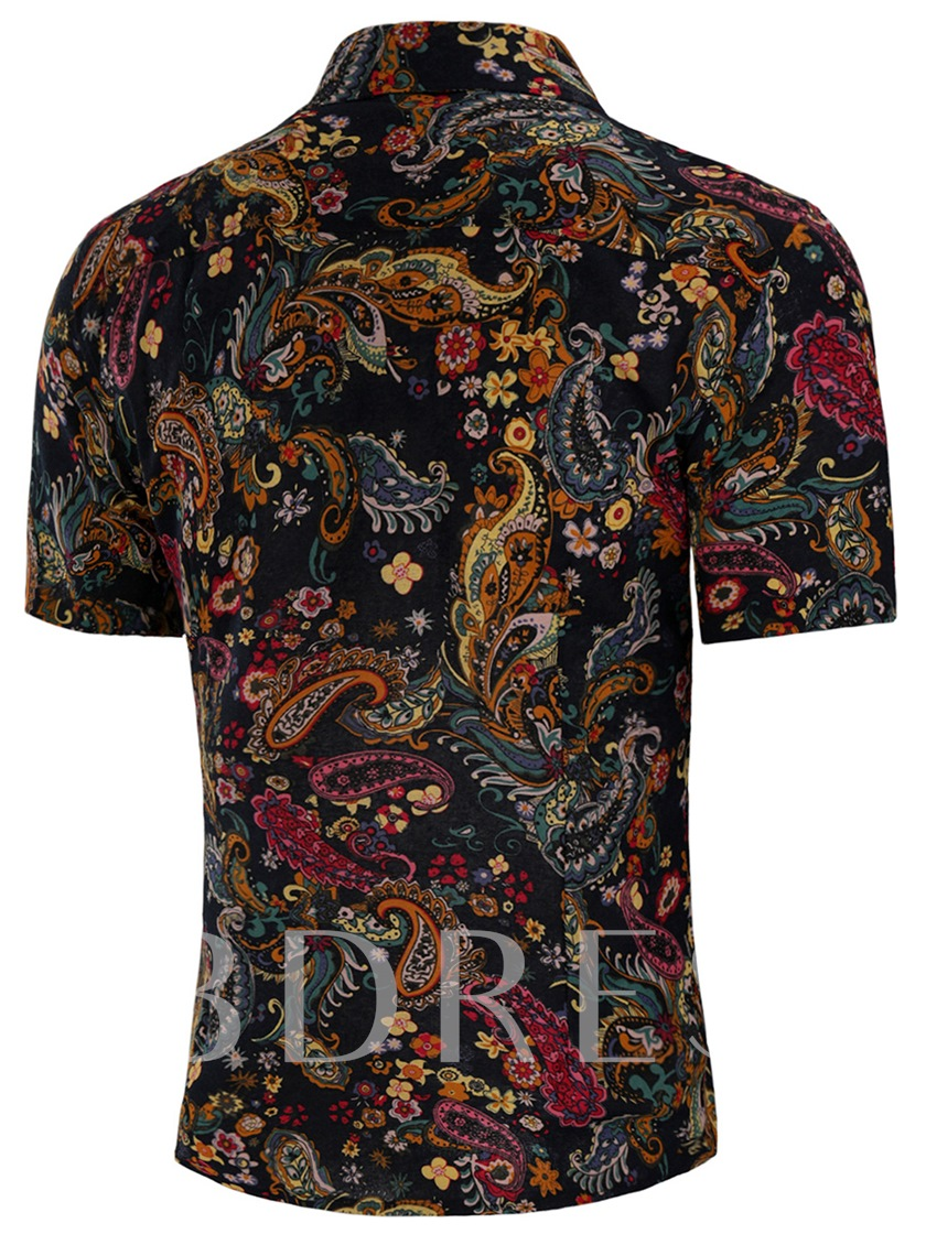 Ethnic Floral Print Men's Short Sleeve Shirt