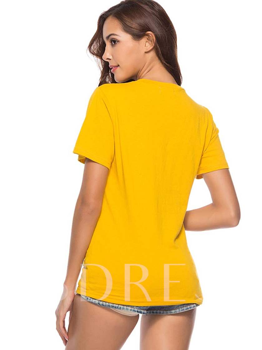 Plain Letter Figure Printed Women's Simple Tee
