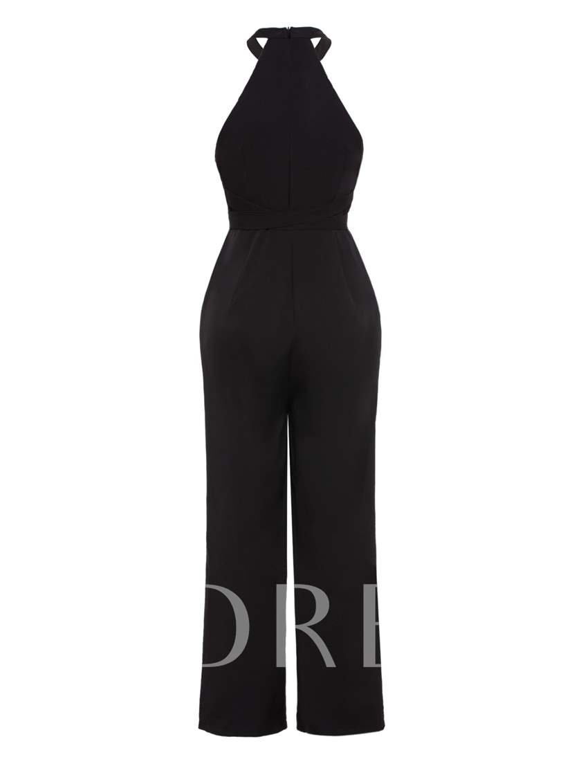 Plain Hollow Halter Women's Jumpsuit