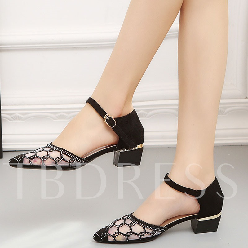 Buy Patchwork Pointed Toe Block Heel Women's Pumps, Spring,Summer,Fall, 13295575 for $35.12 in TBDress store