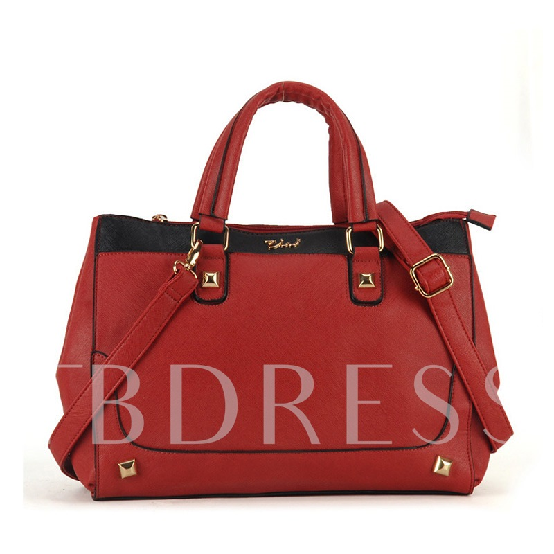 Plain Synthetic Leather Medium Tote Bag