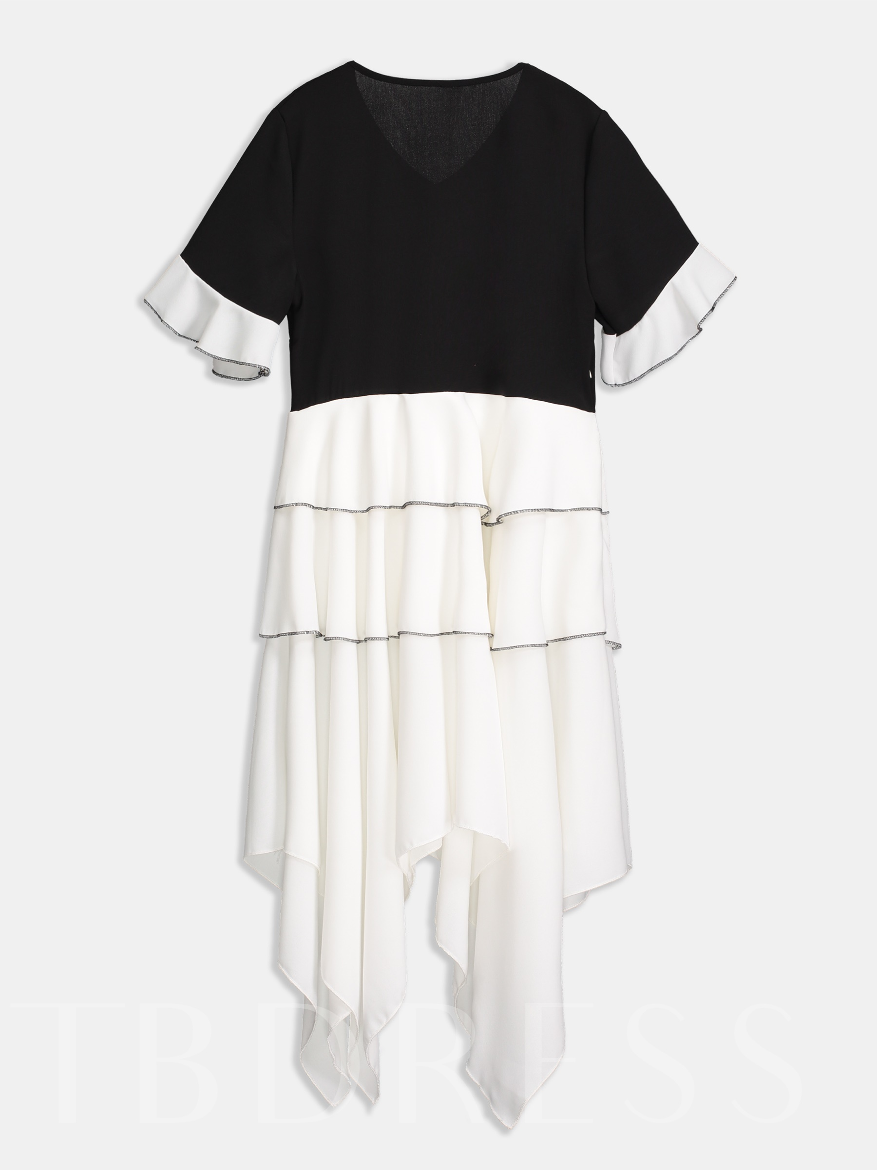 Buy V-Neck Color Block Asymmetric Patchwork Casual Dress, Summer, 13292466 for $19.12 in TBDress store
