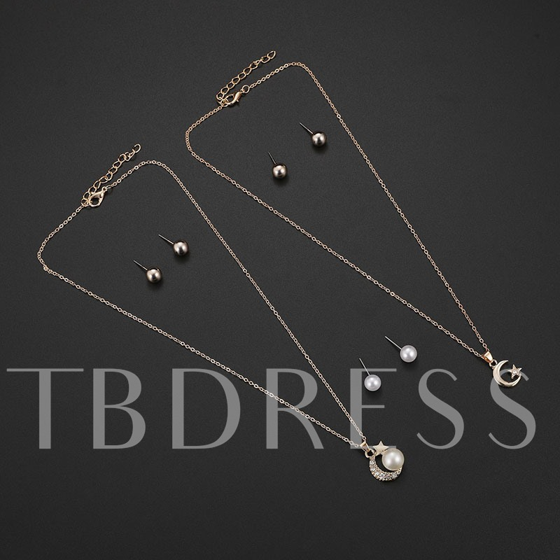 Moon&Star Pearl Various Combinations Jewelry Sets