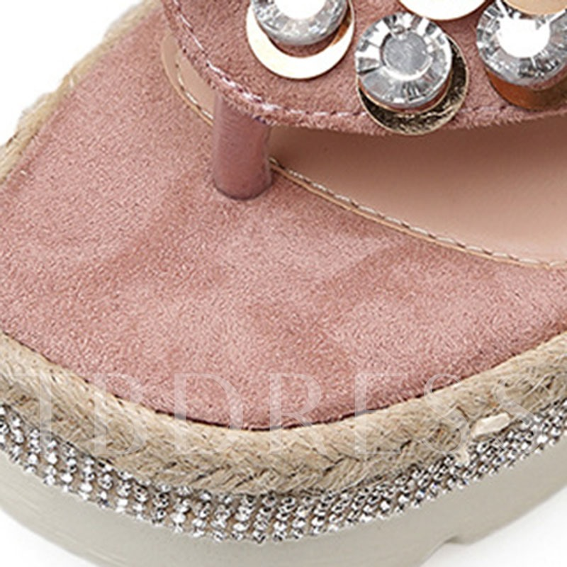 Rhinestione Wedge Heel Thong for Casual Occasion