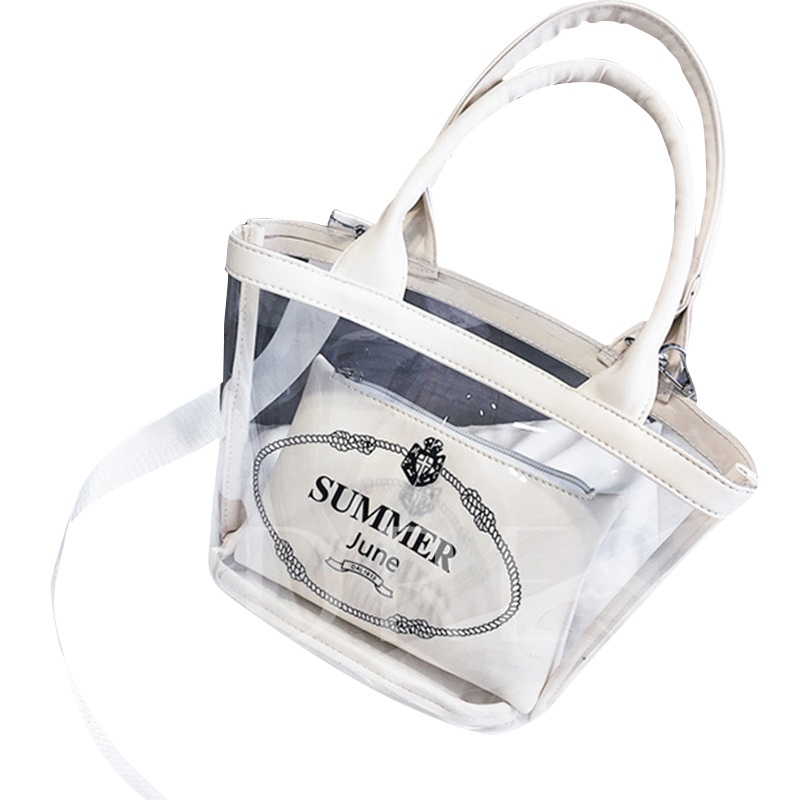 Summer Letter Transparent jelly wrapped vegetable Soft Tote Bag