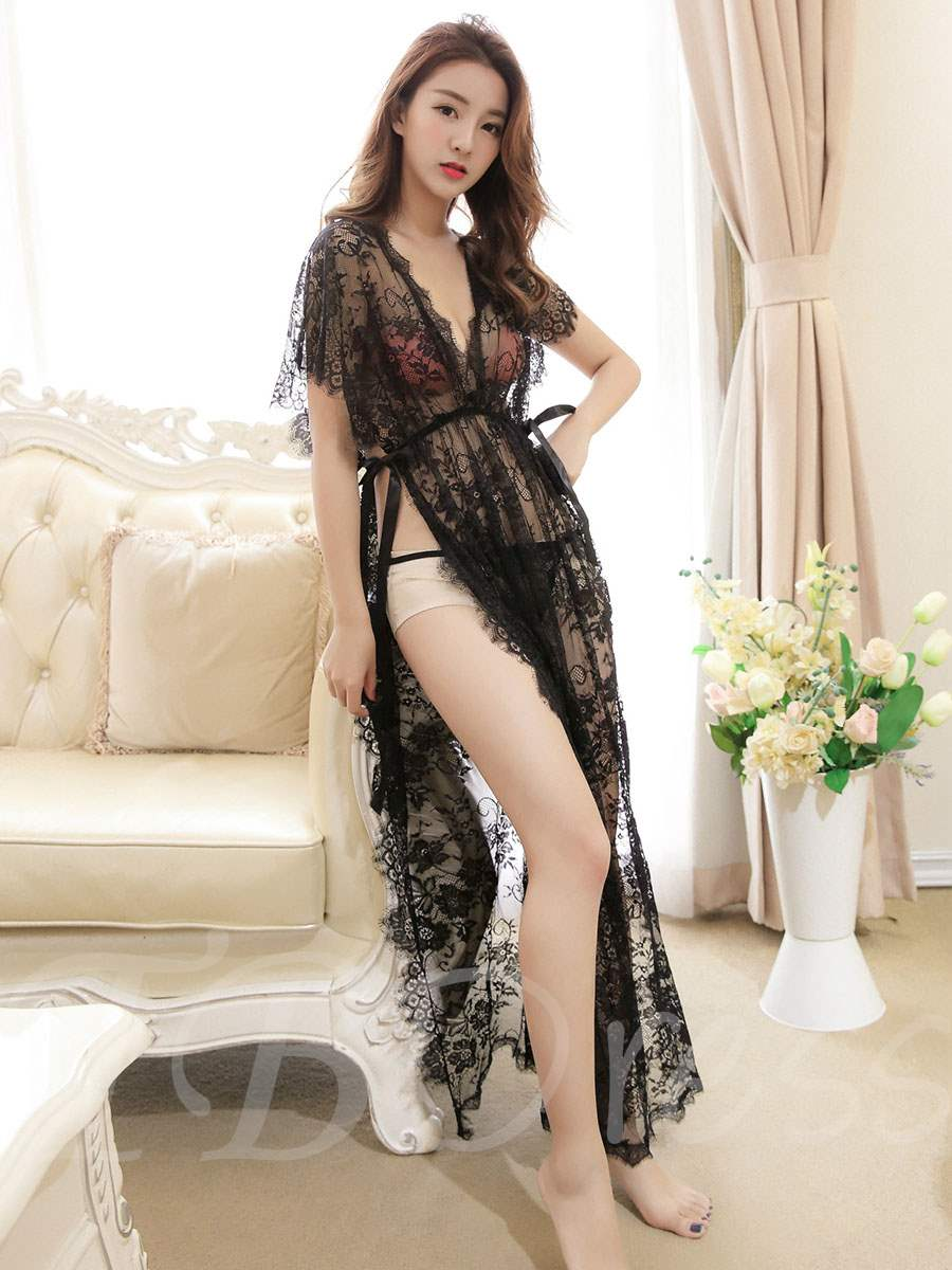 Sexy Slit Up Long Mesh Plus Size Babydoll with G-string