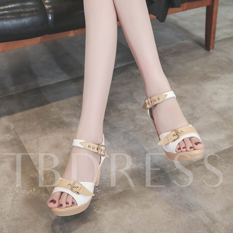 Sweet Shoes Peep Toe Chunky Heel Women's Shoes