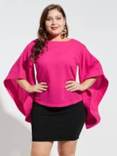 Flare Sleeve Plus Size Solid Color Women's Blouse