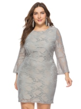Plus Size Flare Sleeve Lace Bodycon Dress