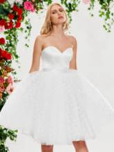 Sweetheart Dots Tulle Beach Short Wedding Dress