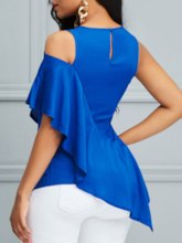 Cold Shoulder Plain Asymmetric Women's T-Shirt