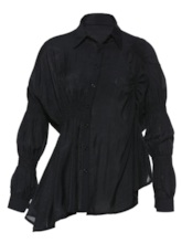 Pleated Single-Breasted Puff Sleeve Women's Shirt