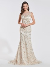 Trumpet Beading Lace Scoop Evening Dress