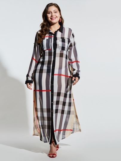Plus Size Long Sleeve Pocket Button Maxi Dress Plus Size Long Sleeve Pocket Button Maxi Dress
