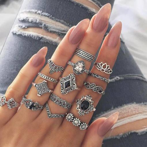 Vintage Geometric Hollow Combination Rings