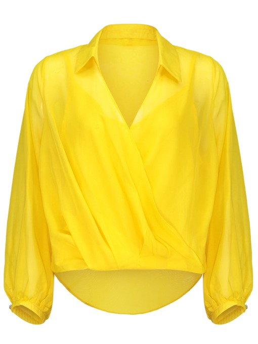 V Neck Solid Color Lantern Sleeve Women's Blouse