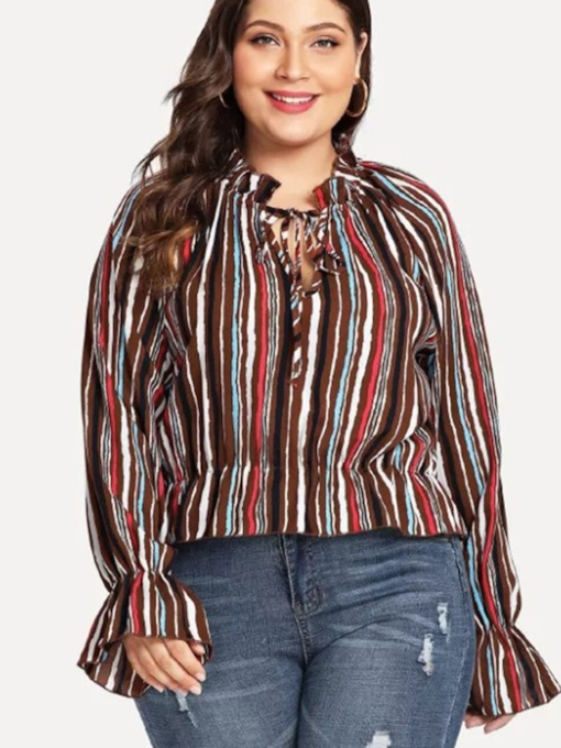 Lace Up Flare Sleeve Plus Size Stripe Women's Blouse