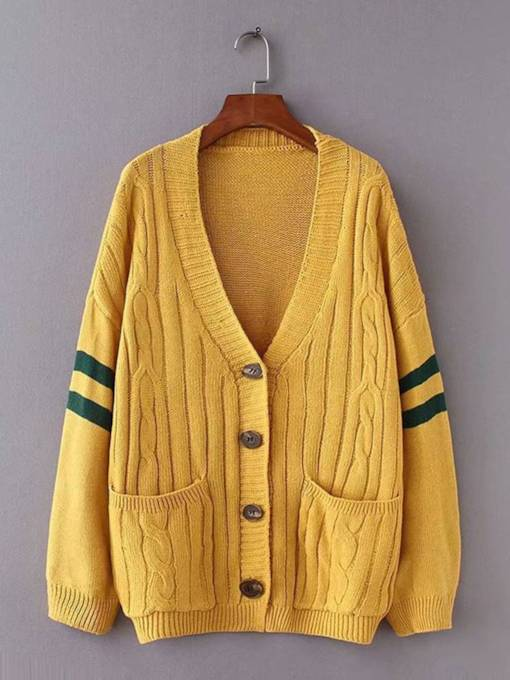Plain Stripe Dual Pocket V-Neck Women's Sweater Coat