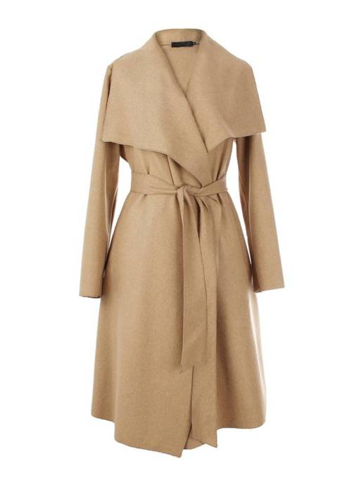 Wide Lapel Tie Waist Mid Length Women's Wrap Coat