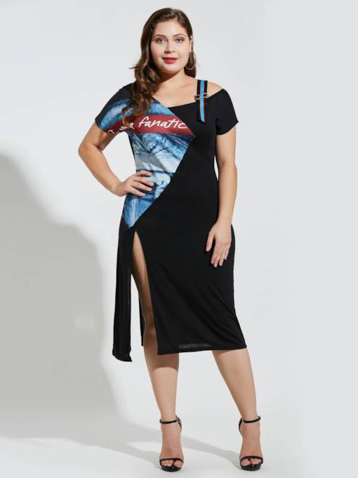 Plus Size Prints Split Backless Day Dress