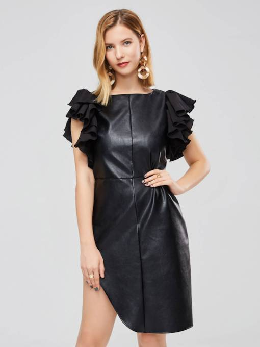 Ruffle Sleeve Plain Zipper Leather Party Dress