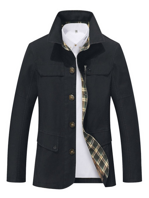 Lapel Solid Color Thin Men's Jacket