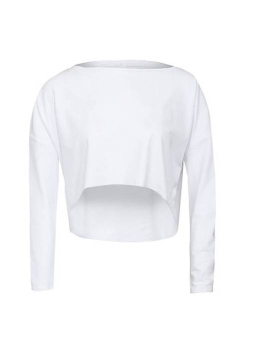 Boat Neck Batwing Sleeve Women's Cropped T-Shirt