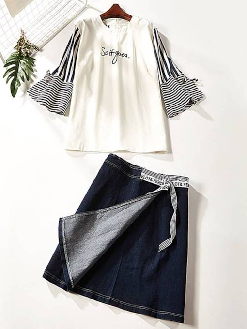 Patchwork Stripe Tee and Denim Skirt Women's Two Piece Set