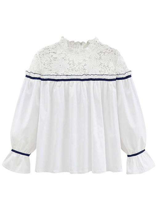Crochet Stand Collar Frilled Pleated Bell Sleeve Women's Blouse