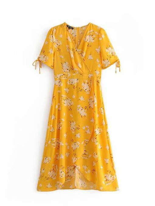 Yellow Floral Short Sleeve Women's Day Dress