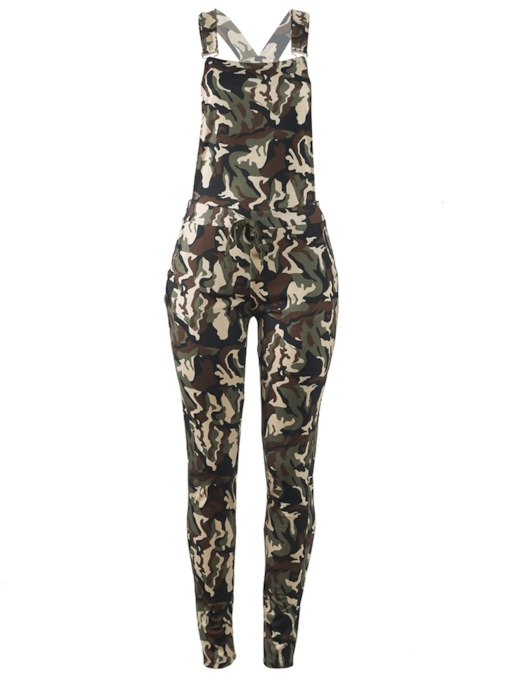 Mid Waist Full Length Cross Camo Women's Overalls