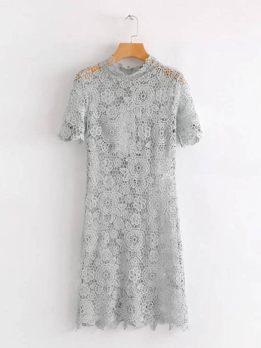 Gray Open Back Women's Lace Dress