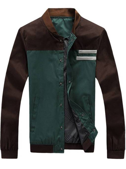 Plain Cotton Slim Men's Baseball Jacket