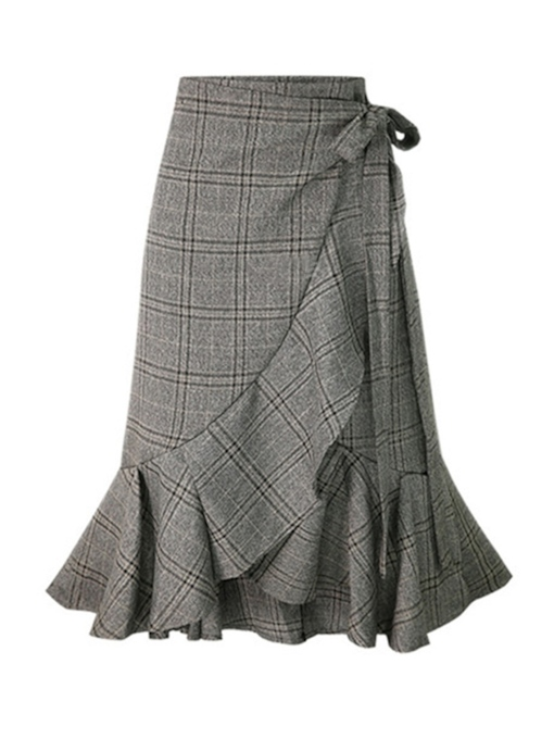 Gingham Print Ruffled Lace-Up Women's Maxi Skirt