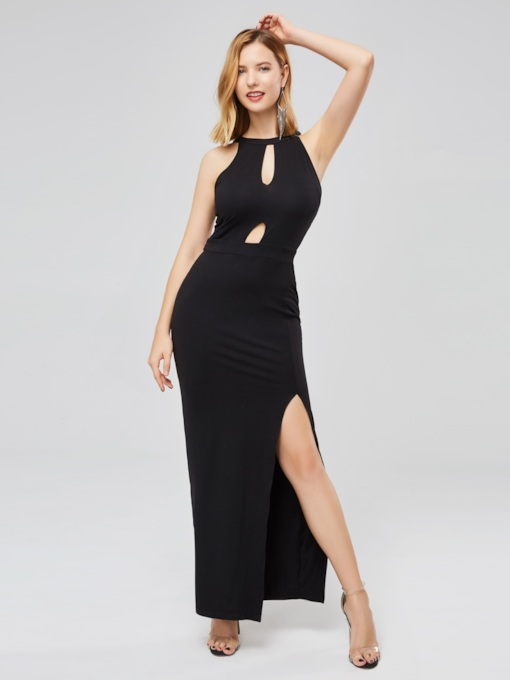 Keyhole Neck Sleeveless Elegant Maxi Dress