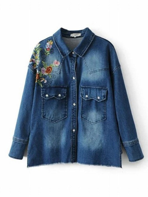 Floral Embroidery Single-Breasted Women's Denim Jacket