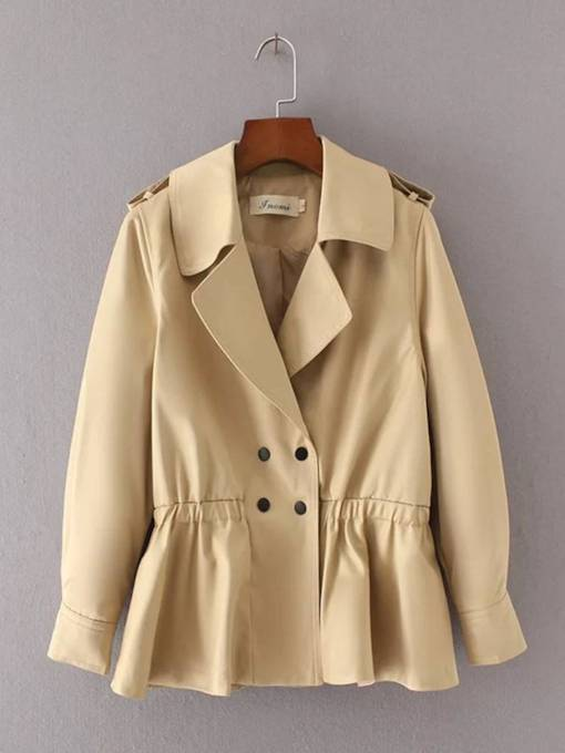 Double-Breasted Elastic Waist Women's Trench Coat