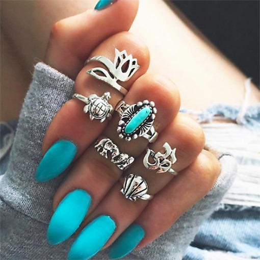 Elephant Turquoise Floral Combination Rings