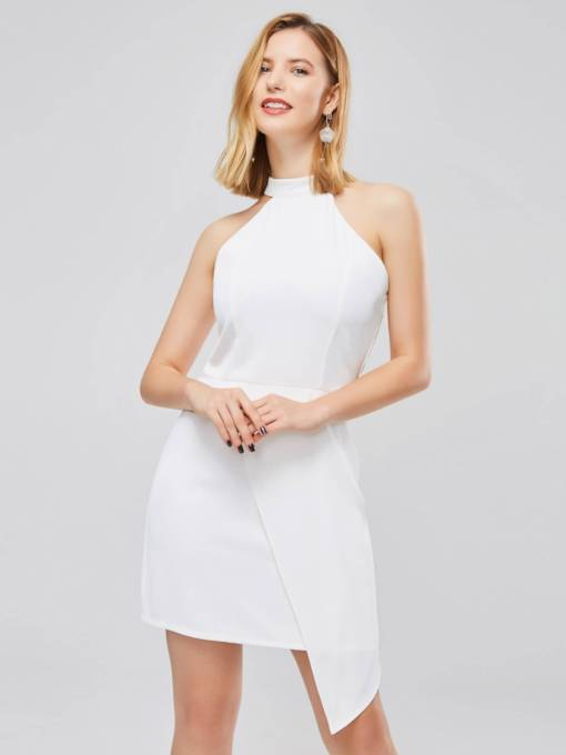Stand Collar Sleeveless Plain Party Dress