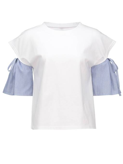 Tie Sleeve Stripe Patchwork Round Neck Women's T-Shirt
