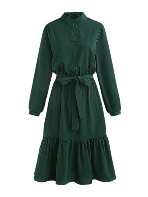 Long Sleeve Stand Collar Button Day Dress