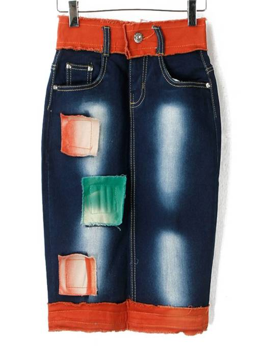 Color Block Patchwork Bodycon Women's Denim Skirt