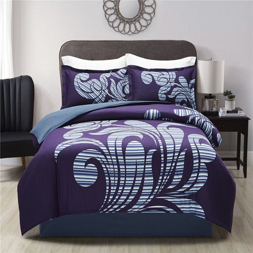 White Stripe Pattern Purple Printing Polyester 4-Piece Bedding Sets/Duvet Cover